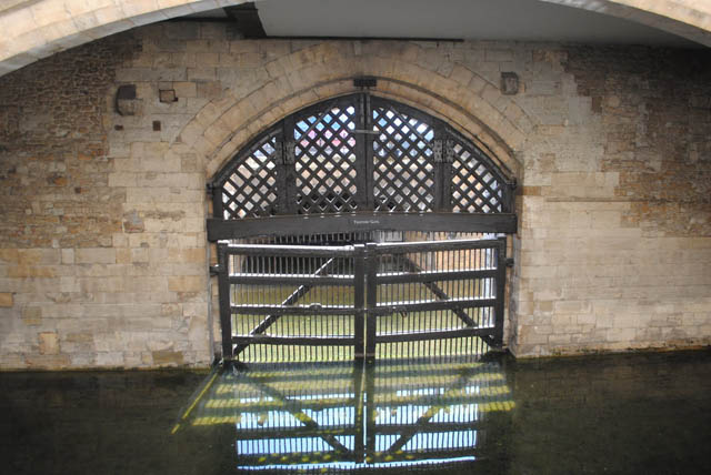 Inside view of TRAITORS' GATE within the walls of the Tower of London.