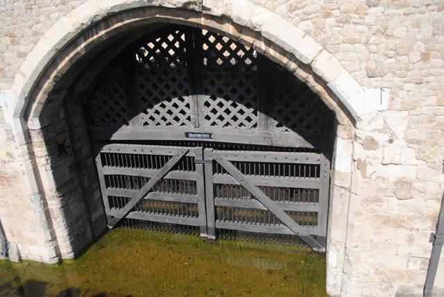 The famous TRAITORS' GATE. This is the gate prisoners entered the Tower, many never to return home again. This is the outside view of the gate.