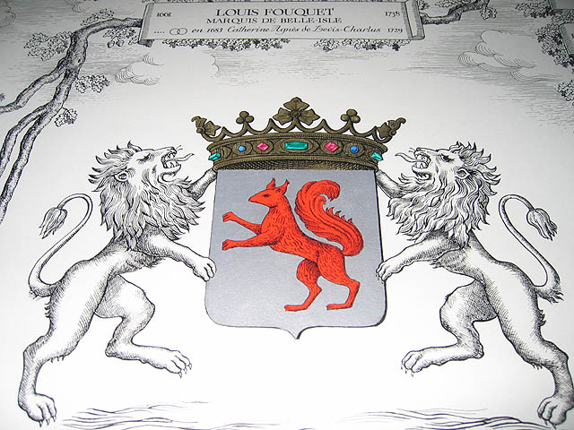 "Fouquet's emblems are the lion and squirrel. They are found throughout the chateau, including outside carved on its façade. In old French, a fouquet was a squirrel. He adopted the motto ""Quo non ascendet"". (""To what heights will he not climb?"") Too ambitious? :-)"