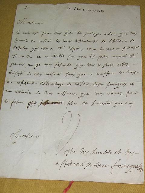 Letter written by Fouquet. As you can see, he spelled his name, 'Foucquet'. However, according to those at Vaux, both spellings are correct. One has a bit of 'old world charm'.