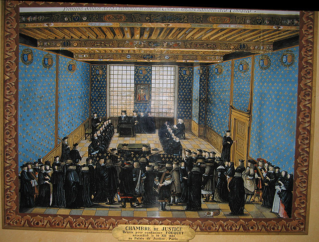 Painting depicting Fouquet's trial. The trial was a long drawn-out process that lasted three years.