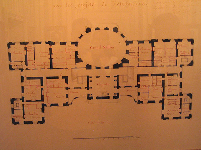 Original architectural plans for Vaux. See any secret passages?  Nicolas Fouquet hired only the best for Vaux: the highly respected architect Louis Le Vau, the master painter Charles Le Brun, and the talented André Le Nôtre, the designer of the gardens.