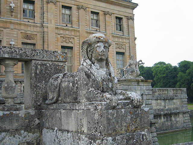 This sphinx is located in Fouquet's gardens. He owned two mummies and was planning to build two miniature pyramids to house them in.