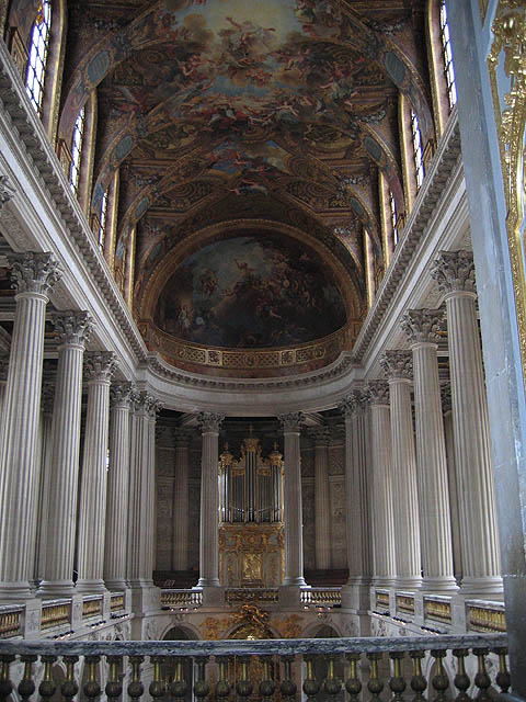 "Chapel in Versailles (upper floor). After seeing the opulence of Chateau Vaux-le-Vicomte, Louis decided to transform Versailles, then a modest chateau, into what it is today, a place befitting a King. It had to be grand, spectacular; therefore, it needed the best designers of the day. Who did Louis pick? None other than the same three men Fouquet hired to created Vaux: Louis Le Vau, Charles Le Brun and André Le Nôtre. See my ""Links"" page for Versailles' official website."