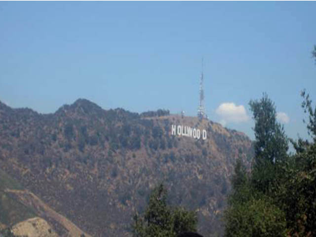 The famous Hollywood sign.