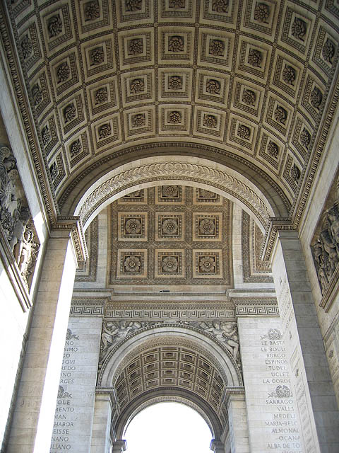 Arc de Triomphe – I took this while standing beneath its magnificent arches.