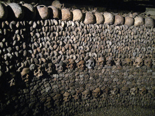 1.2 miles of long dark tunnels lined with skulls and bones.