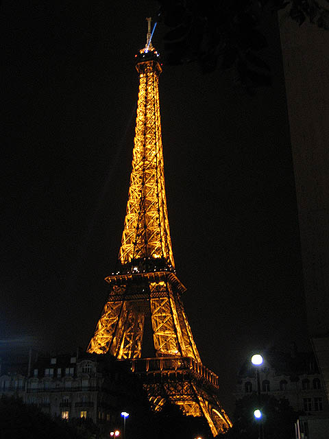 Eiffel Tower. Taken outside our hotel at 2:00am by my husband. Lights raced up and down the tower illuminating it in the most spectacular way.