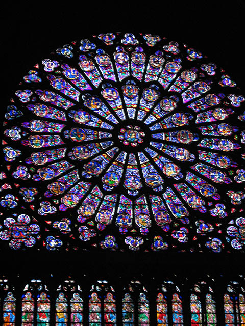 Notre Dame – South Rose Window. During the French Revolution many of the sculptures and other treasures of the cathedral were destroyed. The stained glass windows survived because they were taken down piece by piece and hidden.