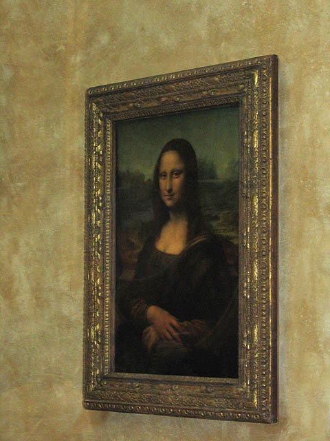 Yes, the real Mona Lisa (mounted behind glass). The crush of people who were trying to get close to this beautiful painting by Leonardo da Vinci was unbelievable. c.1503 – 1506 Oil on wood.