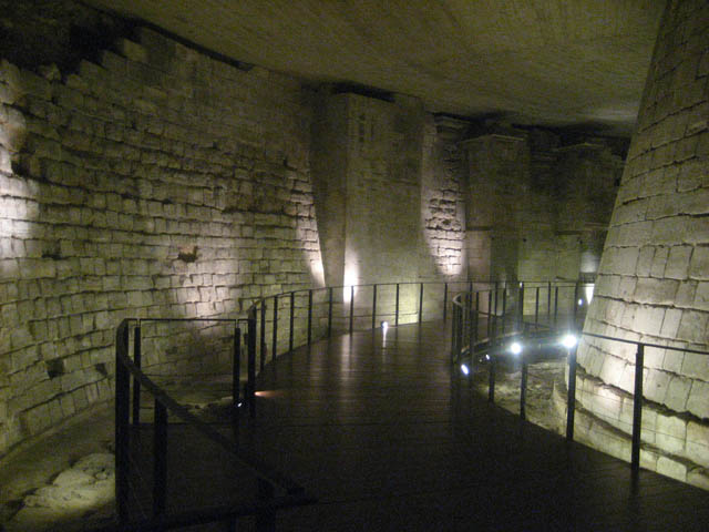 Medieval Louvre – Underneath the Louvre are the remains of the moat and dungeon built by Philippe Auguste circa.1190 to 1202.