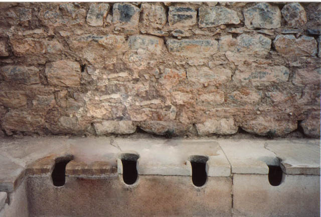 Ancient Roman public toilets.