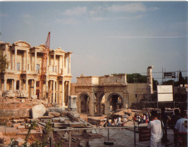 On the left is the magnificent Roman library, Library of Celsus. It's been said that this ancient library once housed 12,000 to 15,000 scrolls.