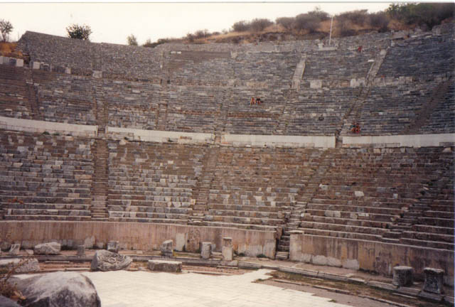 The Great Theatre – seating capacity of 25,000 – was used for many things, from plays to political discussions and of course, gladiator fights. Note the people seated in the theatre. It gives you a perspective just how large this incredible theatre is!